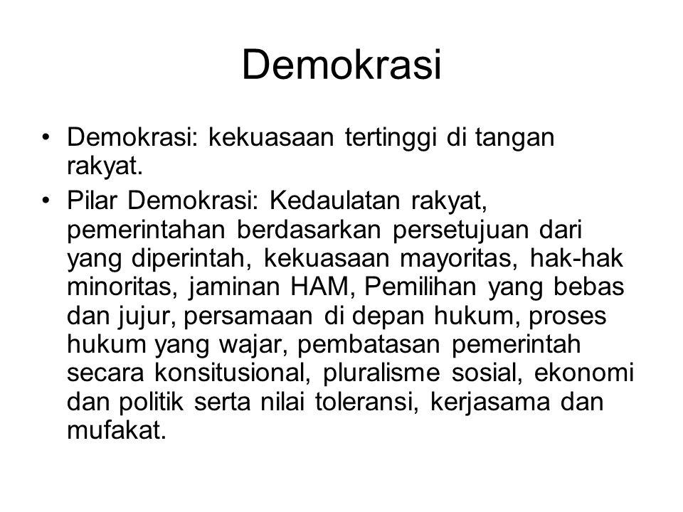 Demokrasi Demokrasi: kekuasaan tertinggi di tangan rakyat.