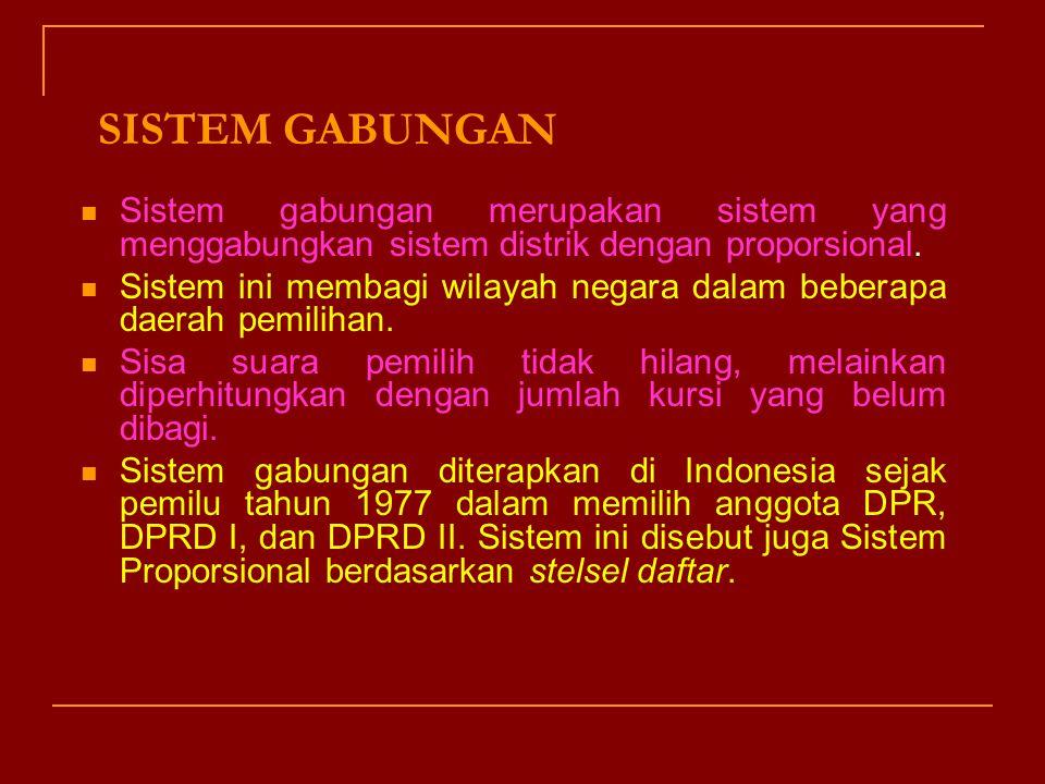 SISTEM GABUNGAN Sistem gabungan merupakan sistem yang menggabungkan sistem distrik dengan proporsional.