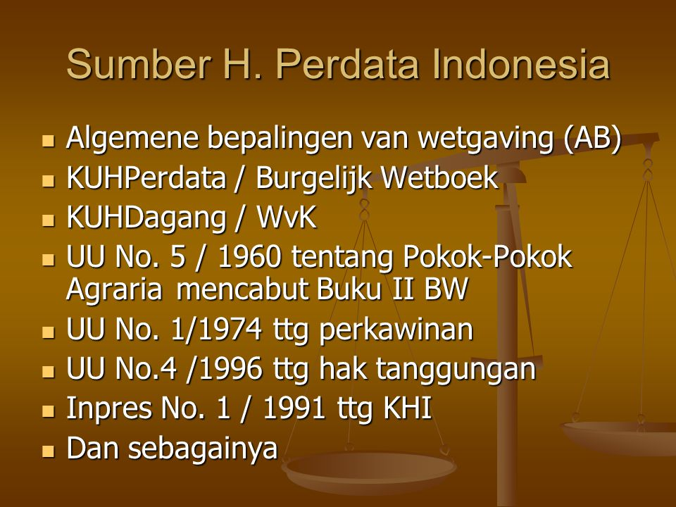 Sumber H. Perdata Indonesia