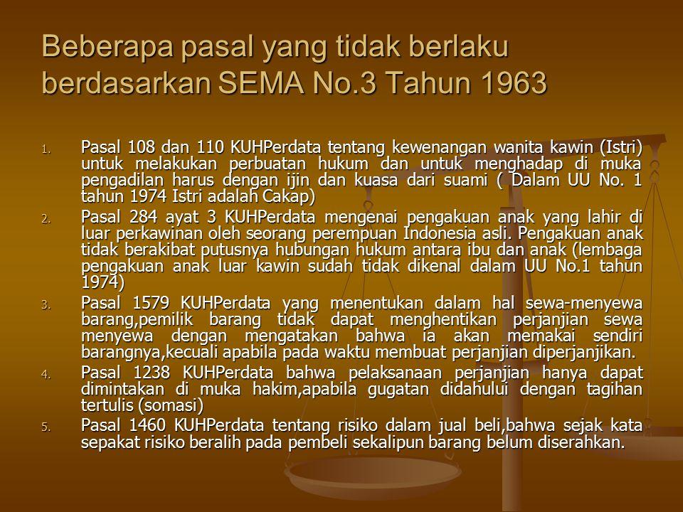 Beberapa pasal yang tidak berlaku berdasarkan SEMA No.3 Tahun 1963