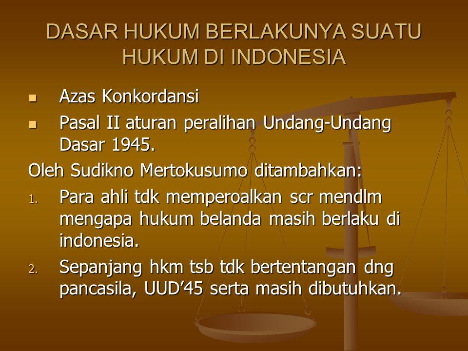 DASAR HUKUM BERLAKUNYA SUATU HUKUM DI INDONESIA
