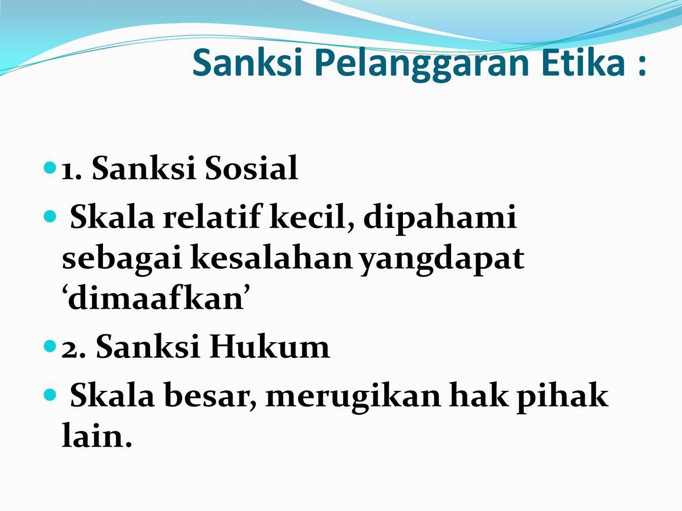 Sanksi Pelanggaran Etika :