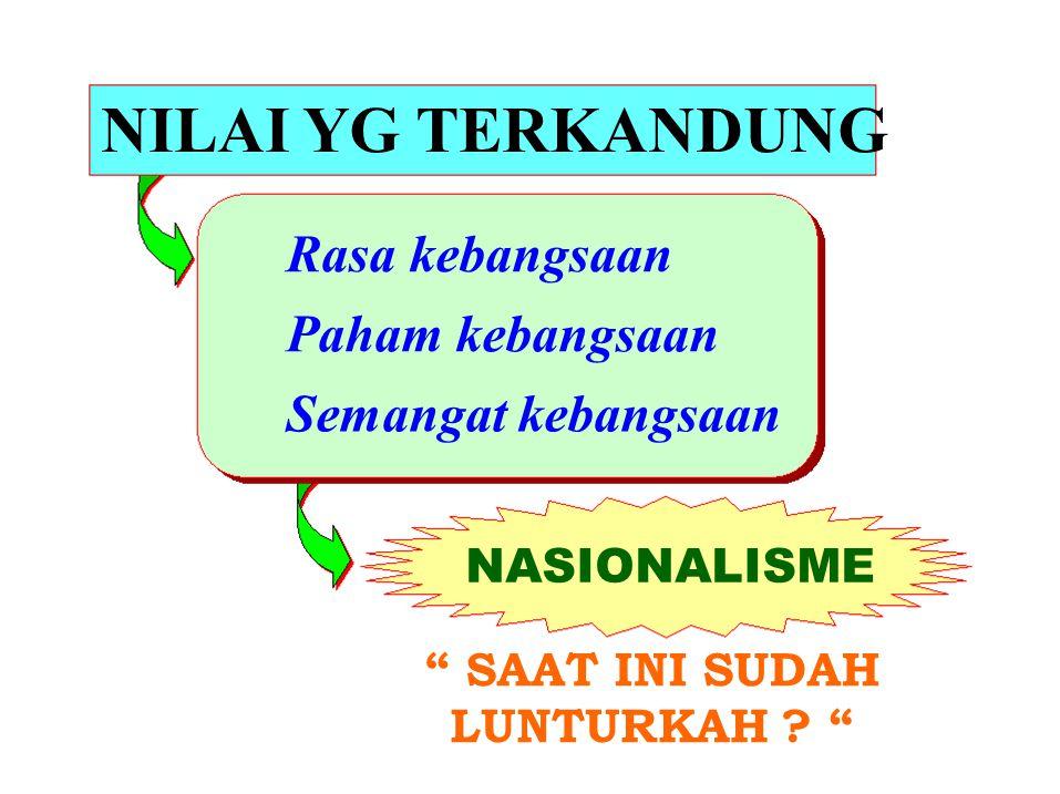 NILAI YG TERKANDUNG Rasa kebangsaan Paham kebangsaan