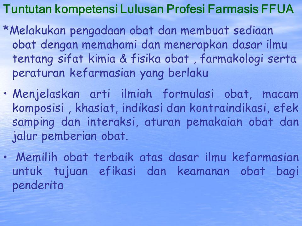 Tuntutan kompetensi Lulusan Profesi Farmasis FFUA