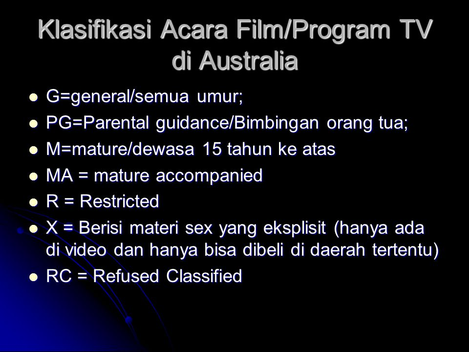 Klasifikasi Acara Film/Program TV di Australia