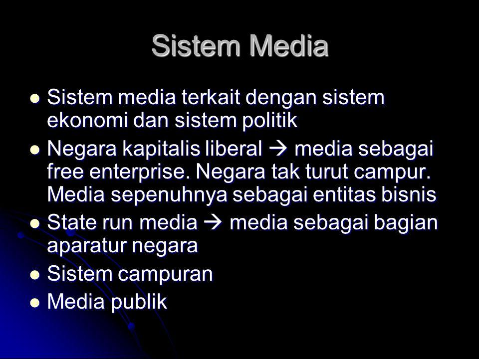 Sistem Media Sistem media terkait dengan sistem ekonomi dan sistem politik.