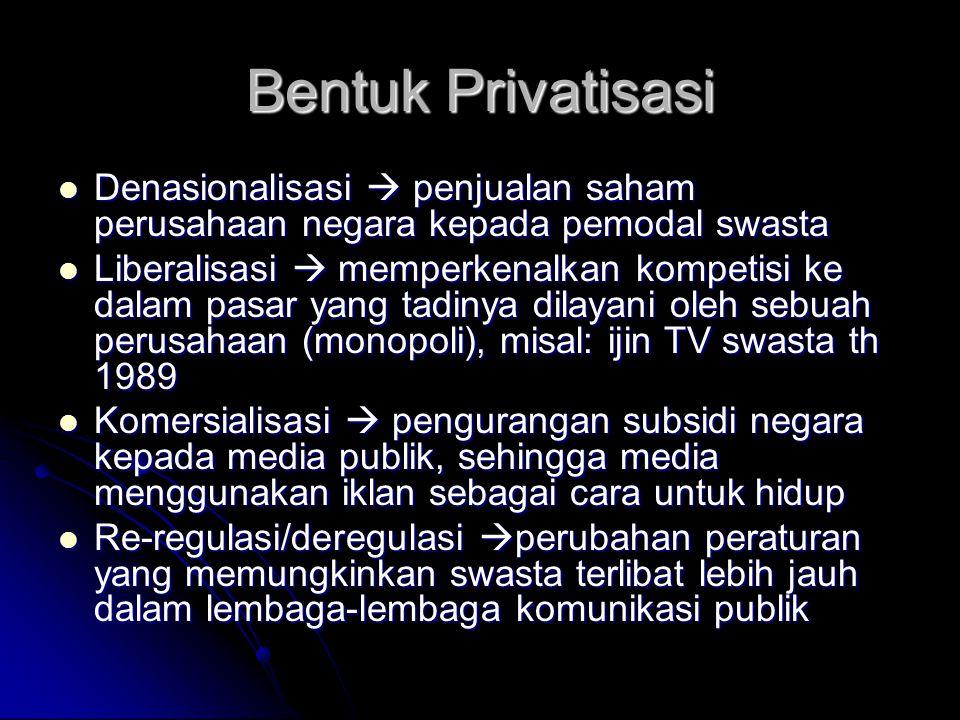 Bentuk Privatisasi Denasionalisasi  penjualan saham perusahaan negara kepada pemodal swasta.