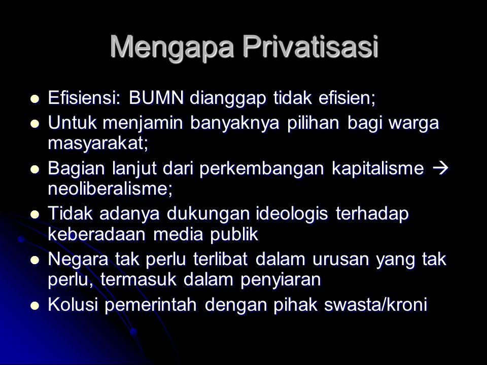 Mengapa Privatisasi Efisiensi: BUMN dianggap tidak efisien;