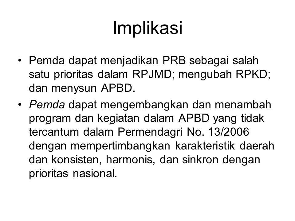 Implikasi Pemda dapat menjadikan PRB sebagai salah satu prioritas dalam RPJMD; mengubah RPKD; dan menysun APBD.