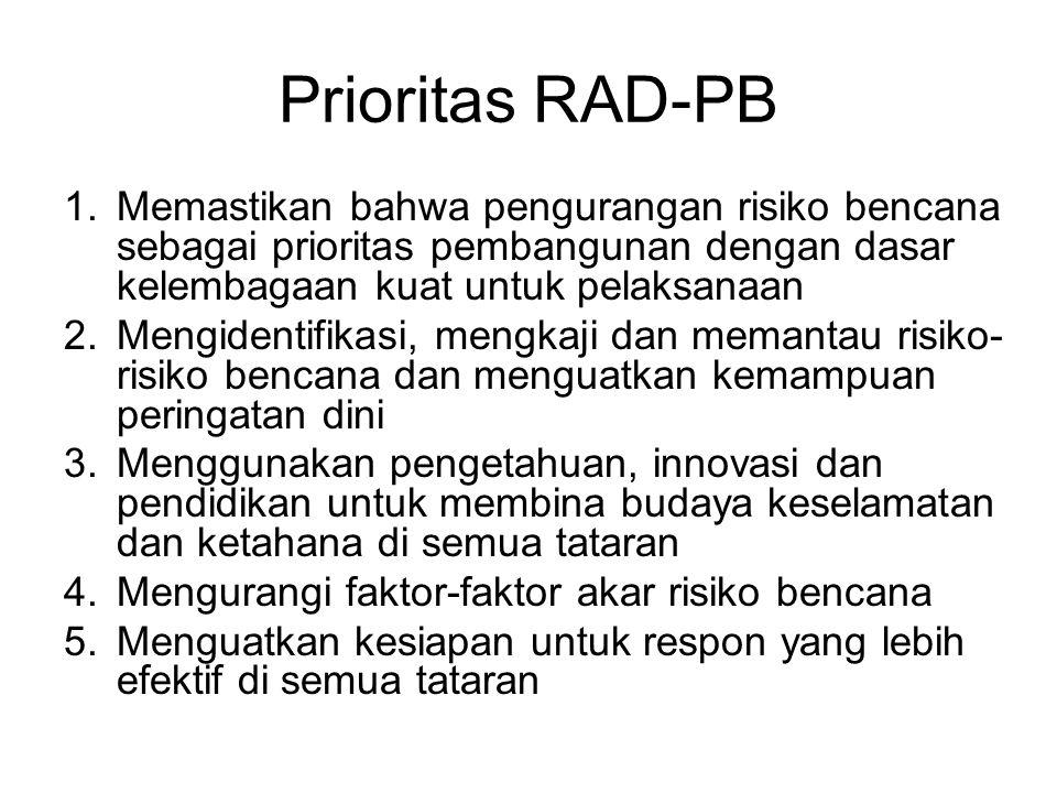 Prioritas RAD-PB Memastikan bahwa pengurangan risiko bencana sebagai prioritas pembangunan dengan dasar kelembagaan kuat untuk pelaksanaan.