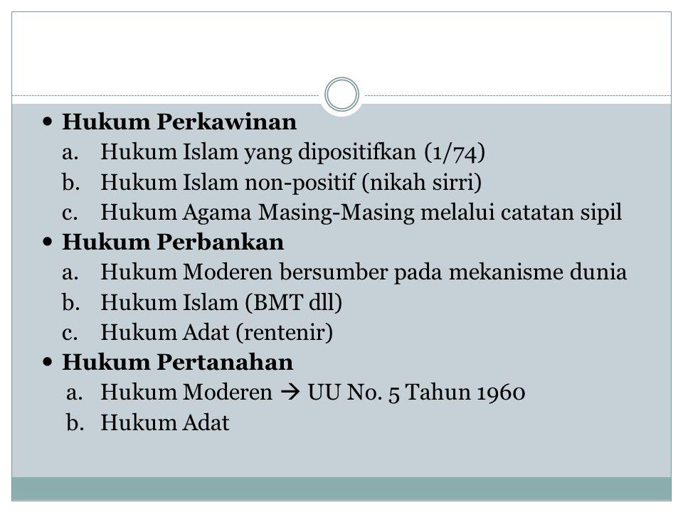 Hukum Perkawinan Hukum Islam yang dipositifkan (1/74) Hukum Islam non-positif (nikah sirri) Hukum Agama Masing-Masing melalui catatan sipil.