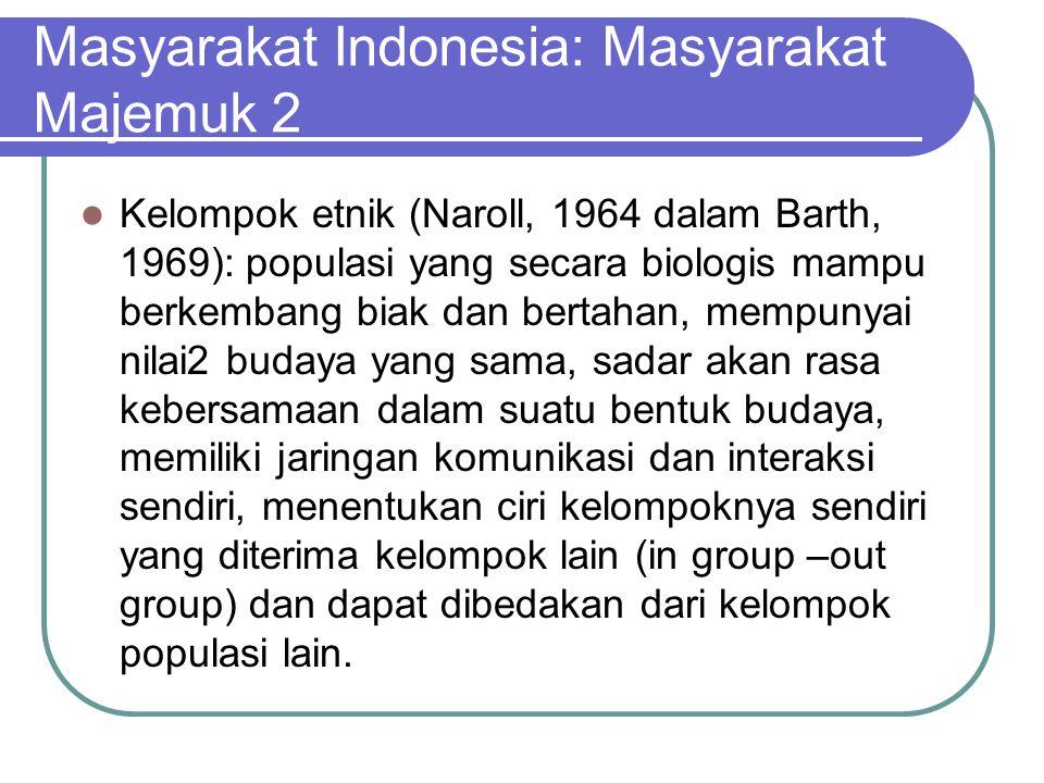 Masyarakat Indonesia: Masyarakat Majemuk 2