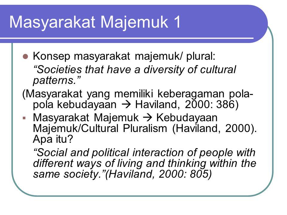 Masyarakat Majemuk 1 Konsep masyarakat majemuk/ plural: