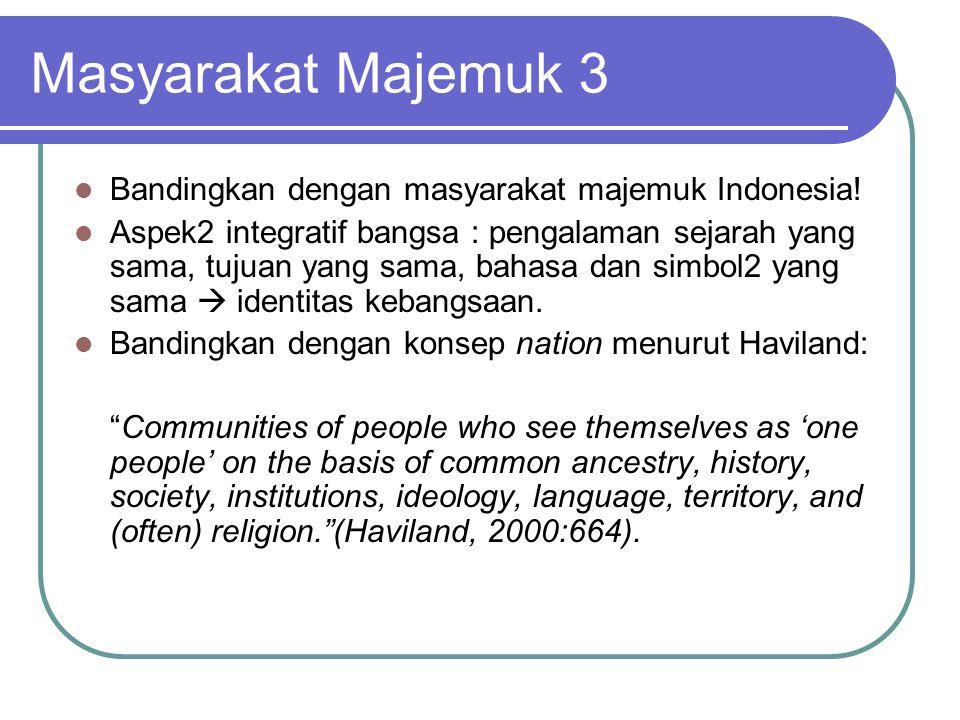 Masyarakat Majemuk 3 Bandingkan dengan masyarakat majemuk Indonesia!