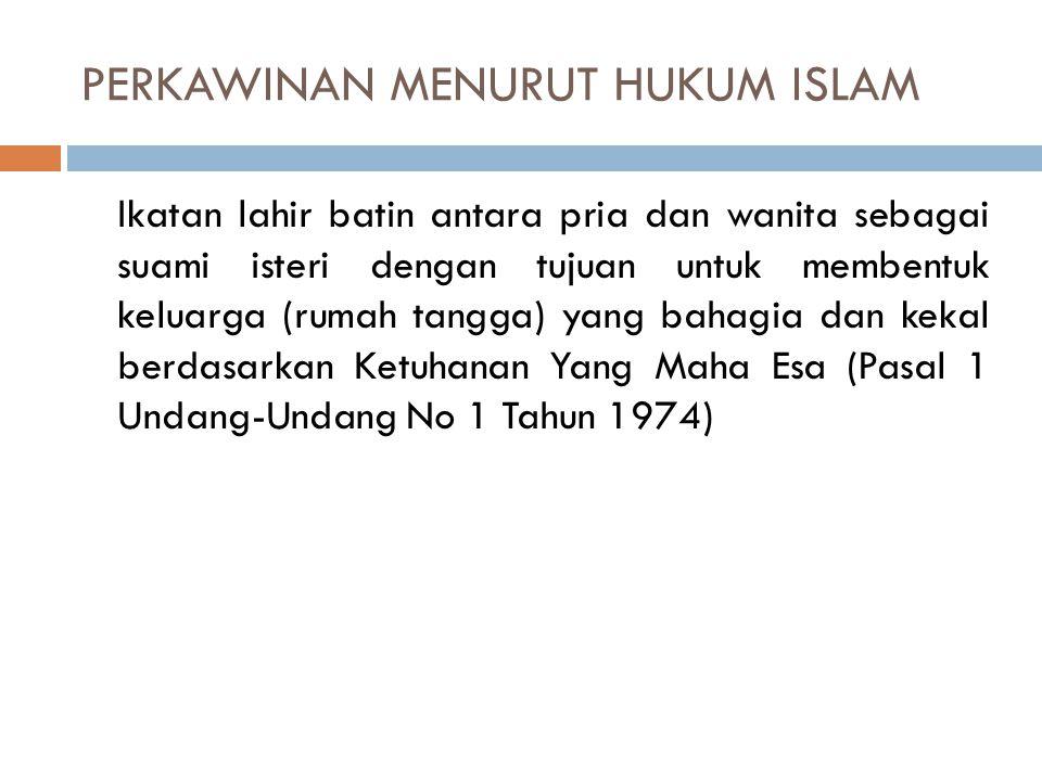 PERKAWINAN MENURUT HUKUM ISLAM