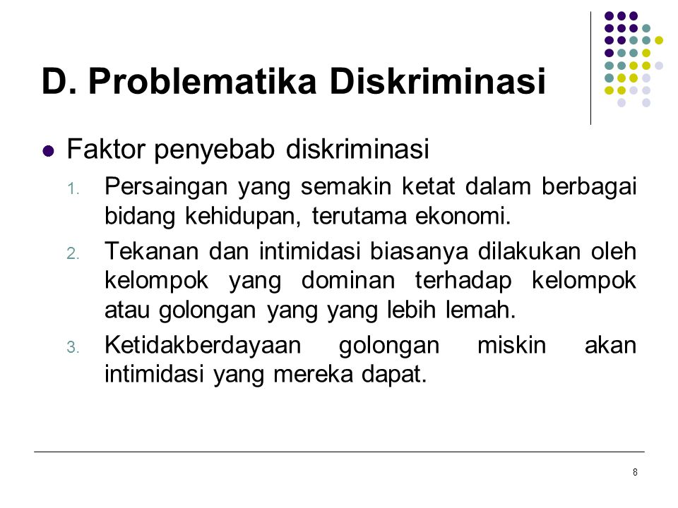 D. Problematika Diskriminasi