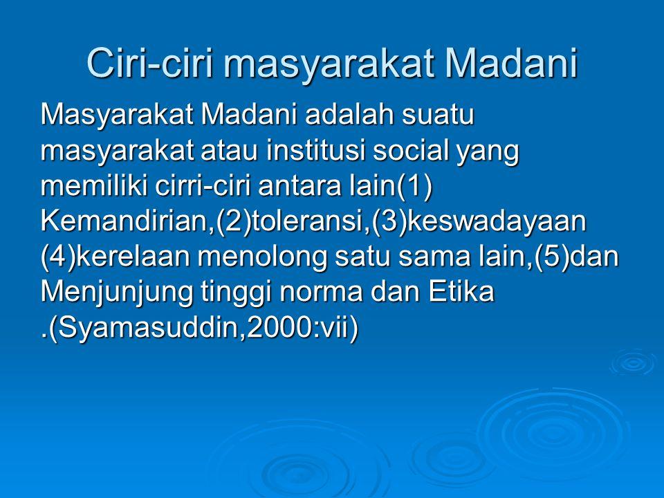 Ciri-ciri masyarakat Madani
