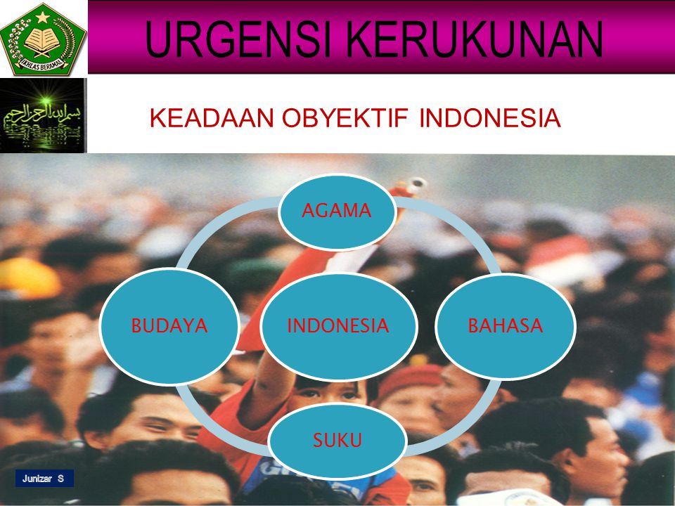 URGENSI KERUKUNAN KEADAAN OBYEKTIF INDONESIA AGAMA BUDAYA INDONESIA