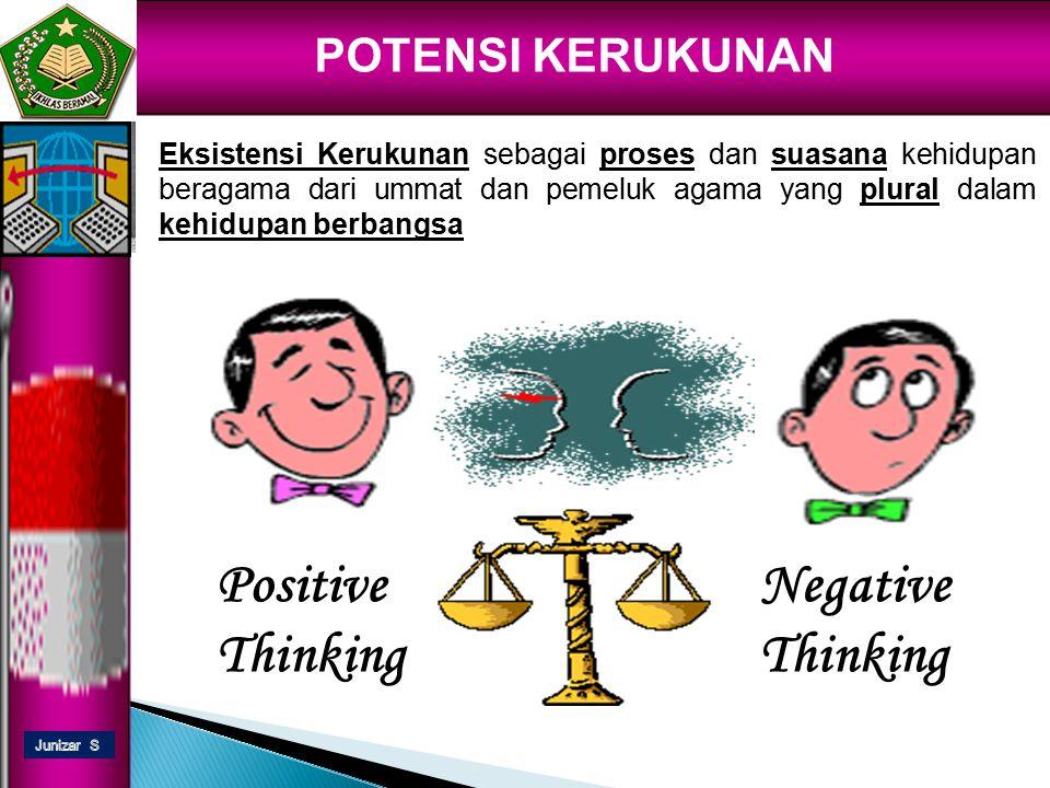 Positive Thinking Negative Thinking POTENSI KERUKUNAN