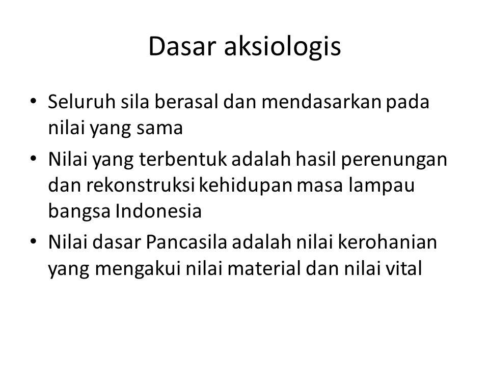 Dasar aksiologis Seluruh sila berasal dan mendasarkan pada nilai yang sama.