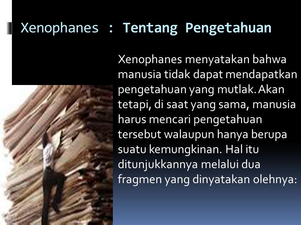 Xenophanes : Tentang Pengetahuan