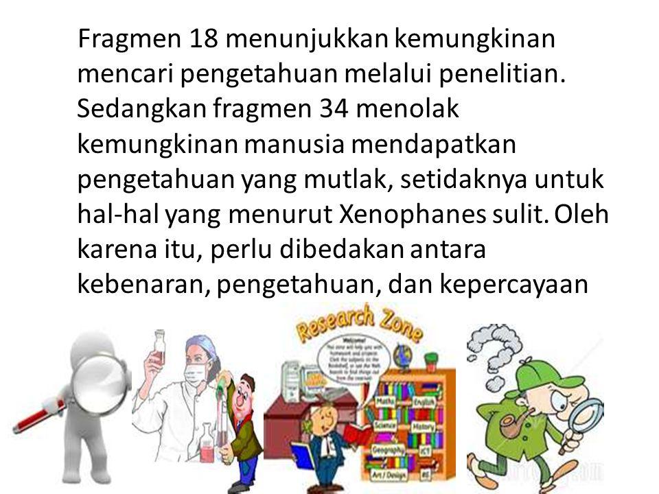 Fragmen 18 menunjukkan kemungkinan mencari pengetahuan melalui penelitian.