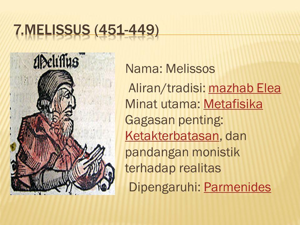 7.Melissus (451-449)