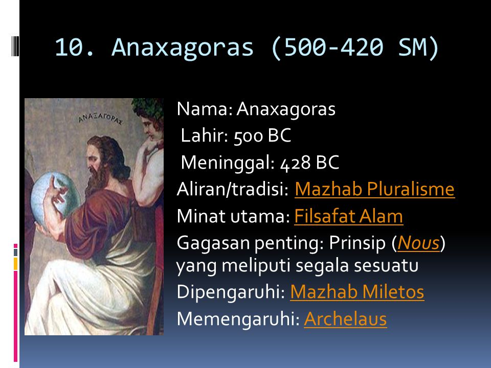 10. Anaxagoras (500-420 SM)