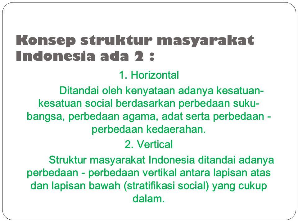 Konsep struktur masyarakat Indonesia ada 2 :