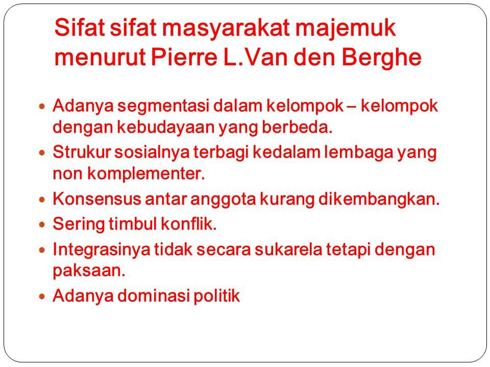 Sifat sifat masyarakat majemuk menurut Pierre L.Van den Berghe