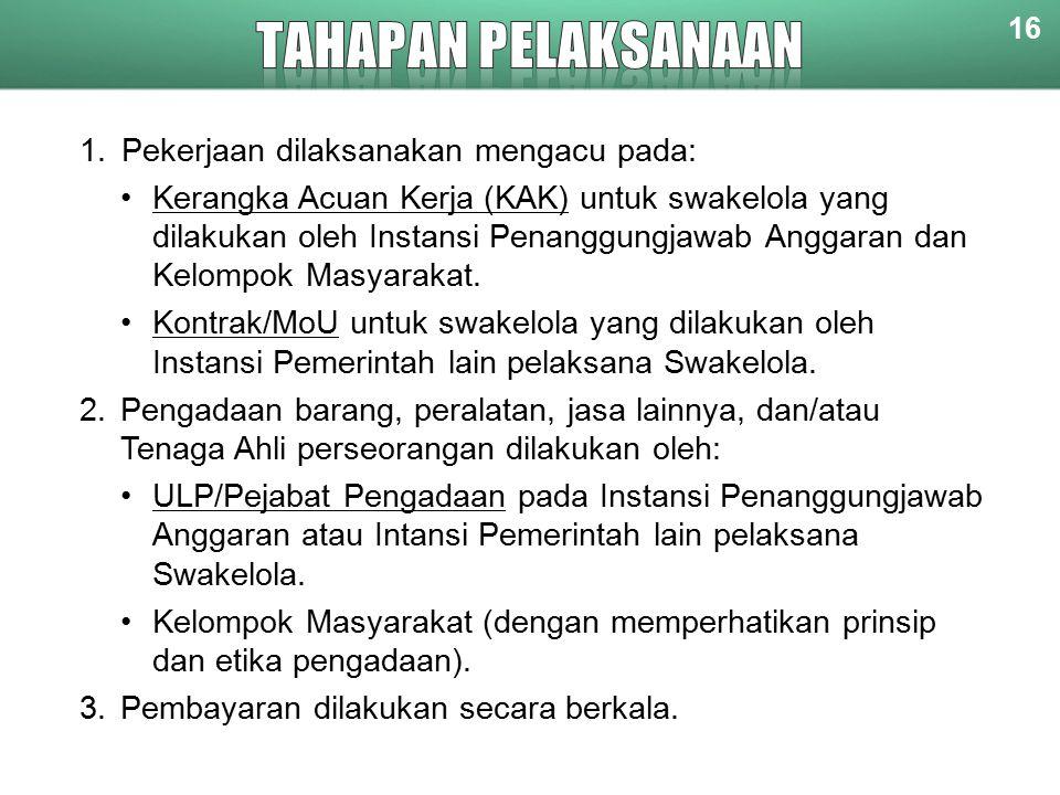 TAHAPAN PELAKSANAAN Pekerjaan dilaksanakan mengacu pada:
