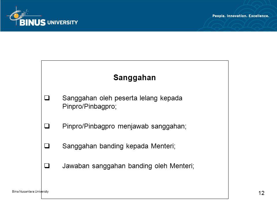 Sanggahan Sanggahan oleh peserta lelang kepada Pinpro/Pinbagpro;