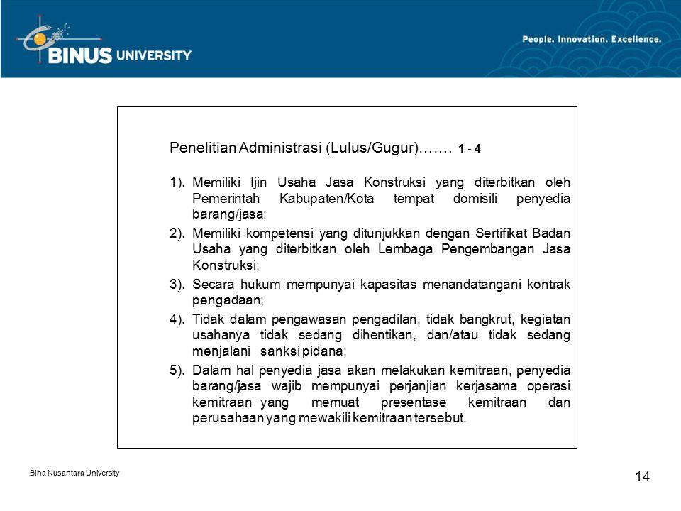 Penelitian Administrasi (Lulus/Gugur)……. 1 - 4