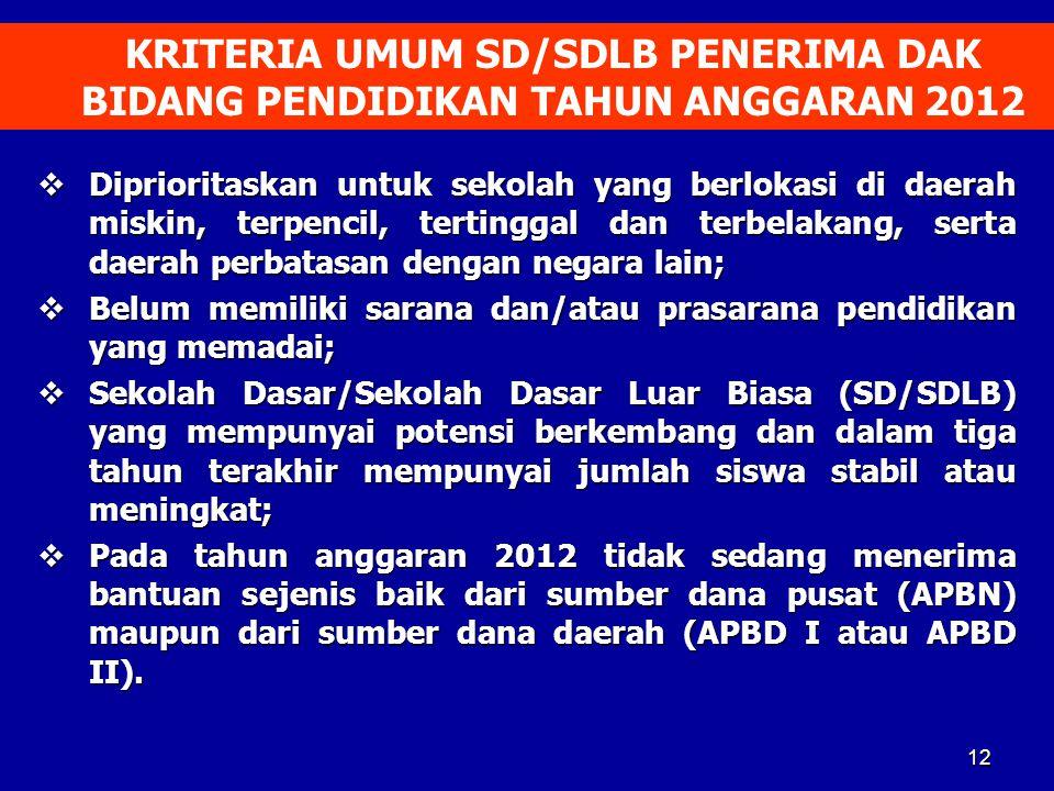 KRITERIA UMUM SD/SDLB PENERIMA DAK BIDANG PENDIDIKAN TAHUN ANGGARAN 2012
