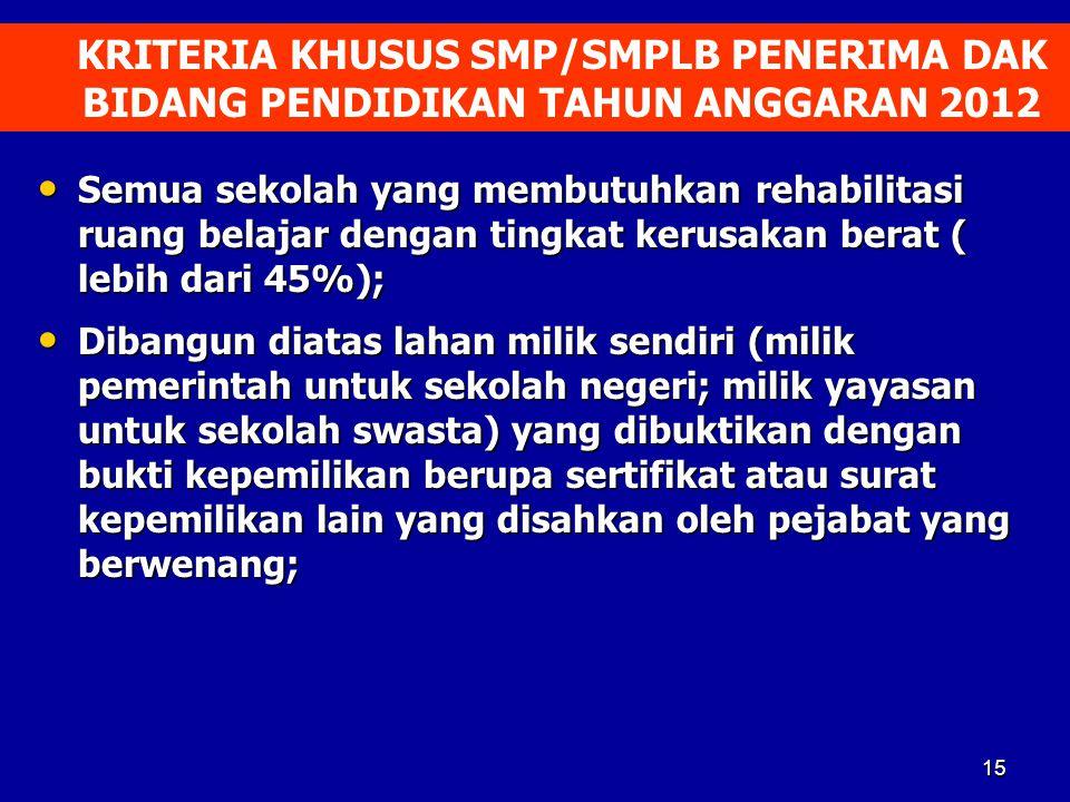 KRITERIA KHUSUS SMP/SMPLB PENERIMA DAK BIDANG PENDIDIKAN TAHUN ANGGARAN 2012