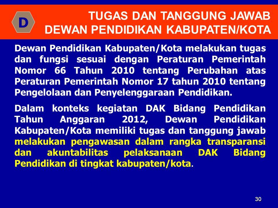 D TUGAS DAN TANGGUNG JAWAB DEWAN PENDIDIKAN KABUPATEN/KOTA