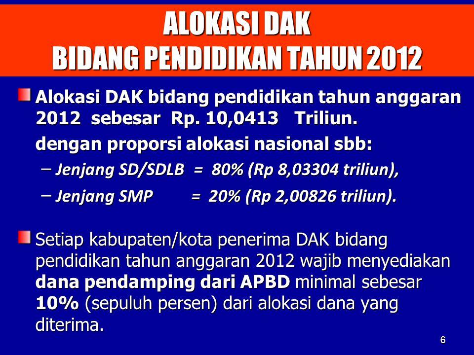 ALOKASI DAK BIDANG PENDIDIKAN TAHUN 2012