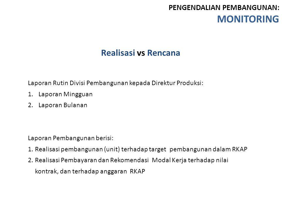 MONITORING Realisasi vs Rencana PENGENDALIAN PEMBANGUNAN: