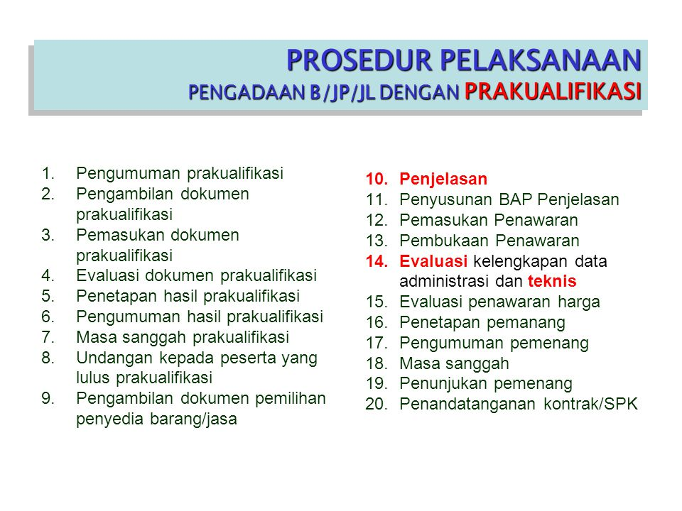 PROSEDUR PELAKSANAAN PENGADAAN B/JP/JL DENGAN PRAKUALIFIKASI