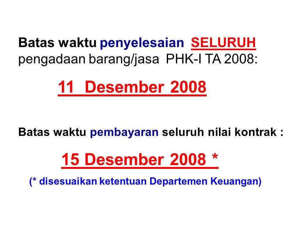 Batas waktu penyelesaian SELURUH pengadaan barang/jasa PHK-I TA 2008:
