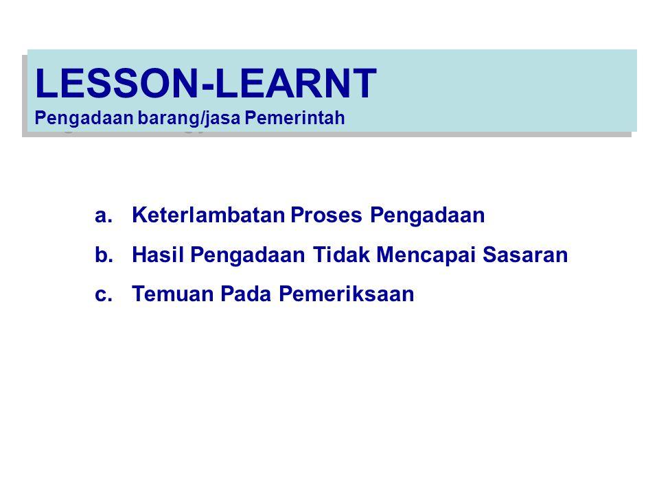LESSON-LEARNT Pengadaan barang/jasa Pemerintah