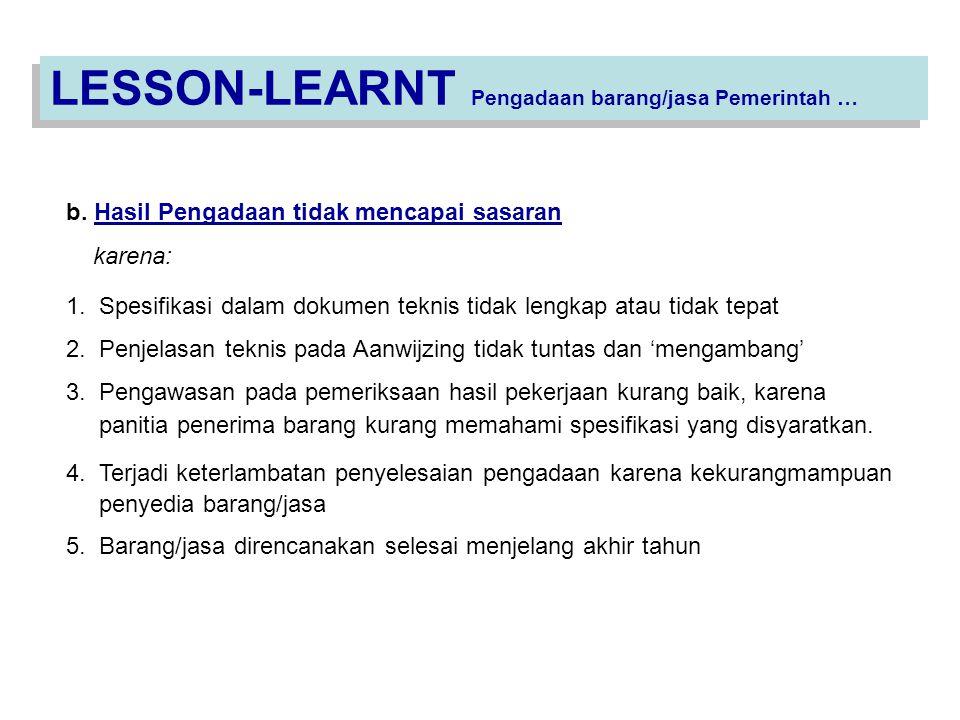 LESSON-LEARNT Pengadaan barang/jasa Pemerintah …