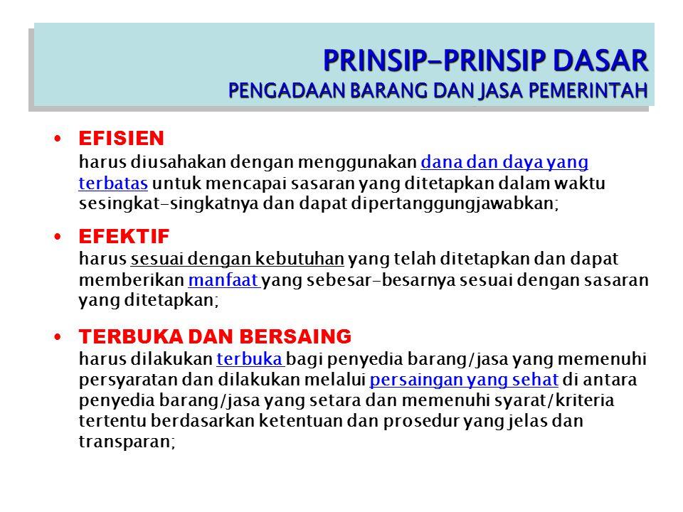 PRINSIP-PRINSIP DASAR PENGADAAN BARANG DAN JASA PEMERINTAH