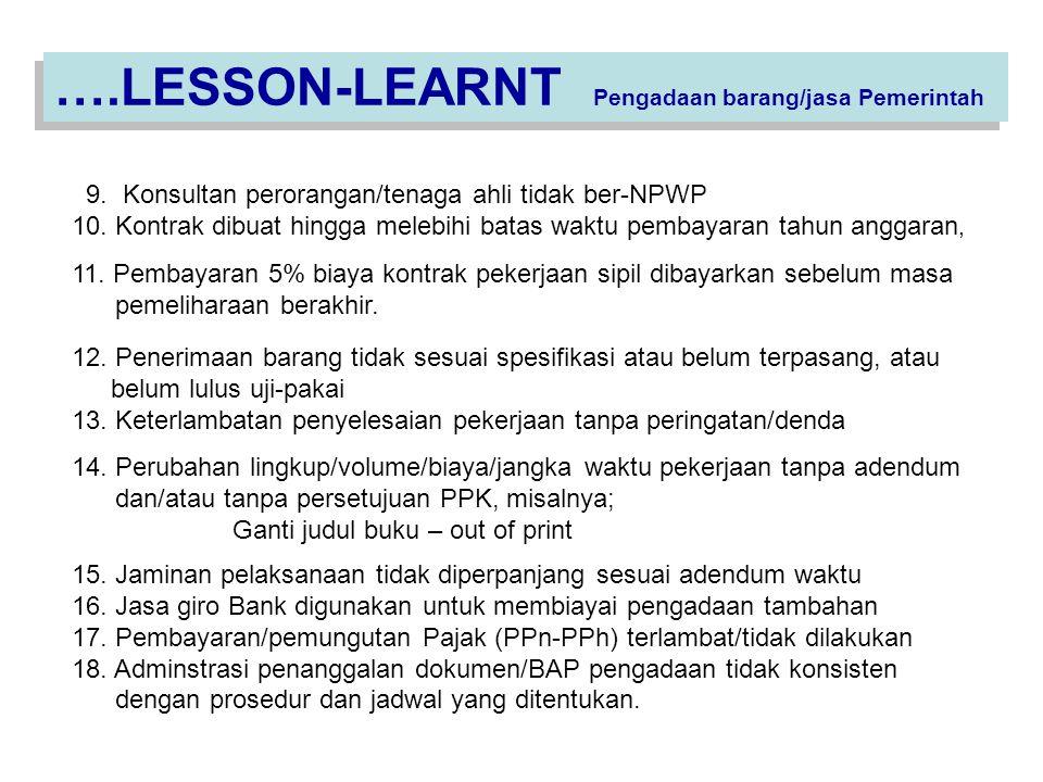 ….LESSON-LEARNT Pengadaan barang/jasa Pemerintah