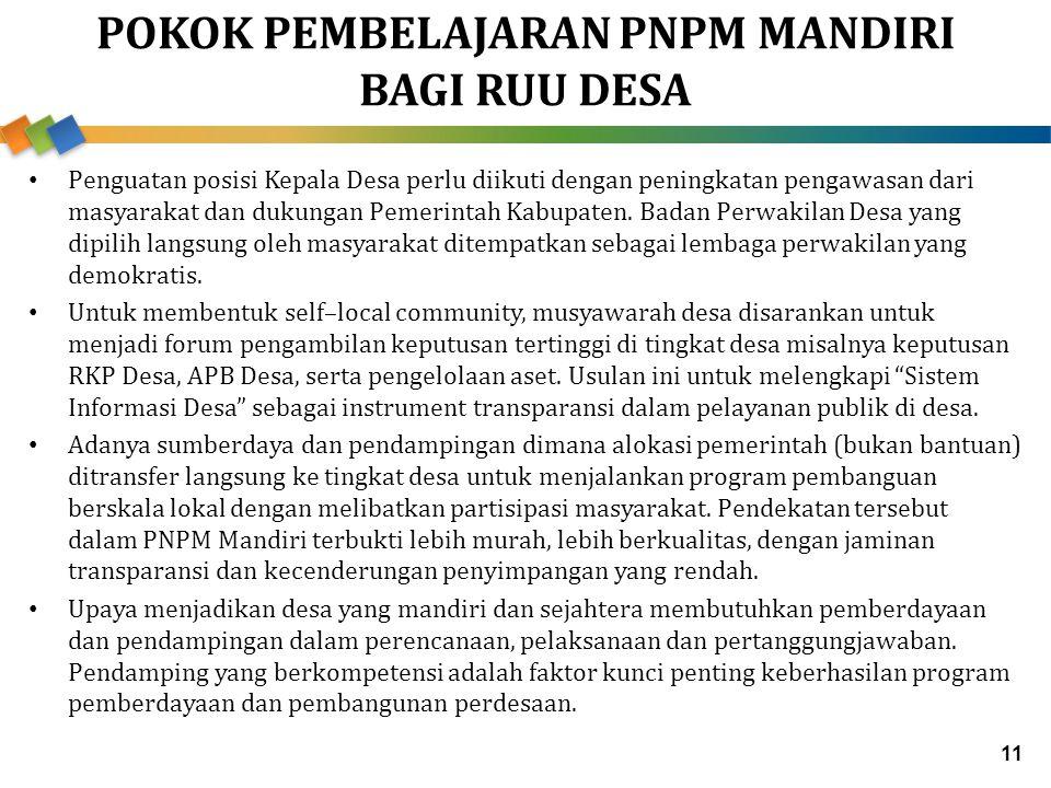 POKOK PEMBELAJARAN PNPM MANDIRI BAGI RUU DESA