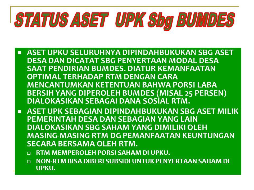 STATUS ASET UPK Sbg BUMDES