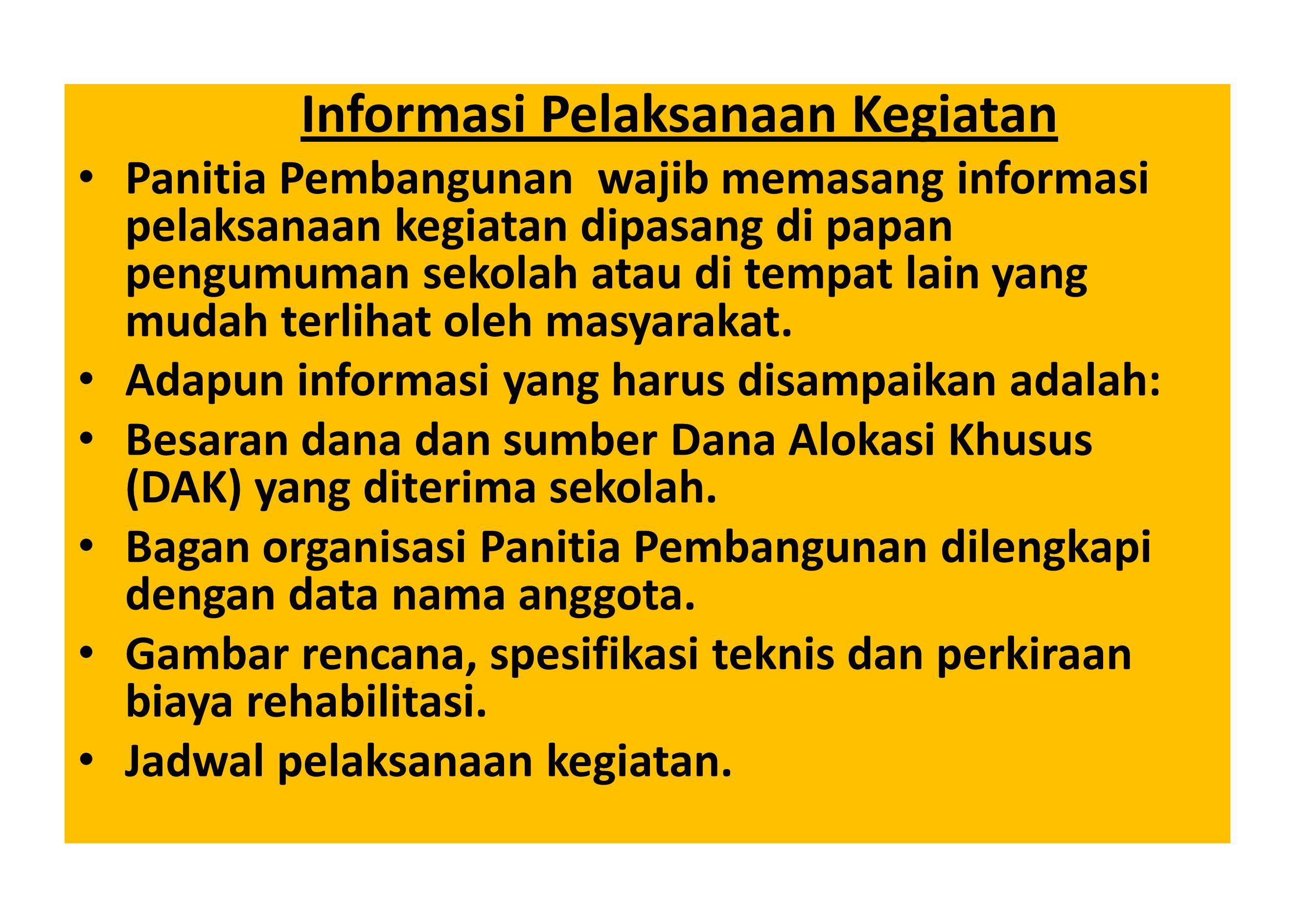 Informasi Pelaksanaan Kegiatan
