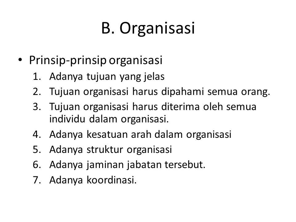 B. Organisasi Prinsip-prinsip organisasi Adanya tujuan yang jelas