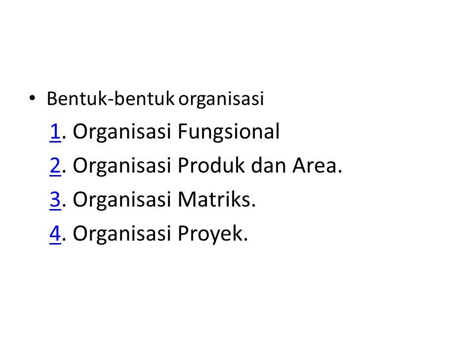 1. Organisasi Fungsional 2. Organisasi Produk dan Area.