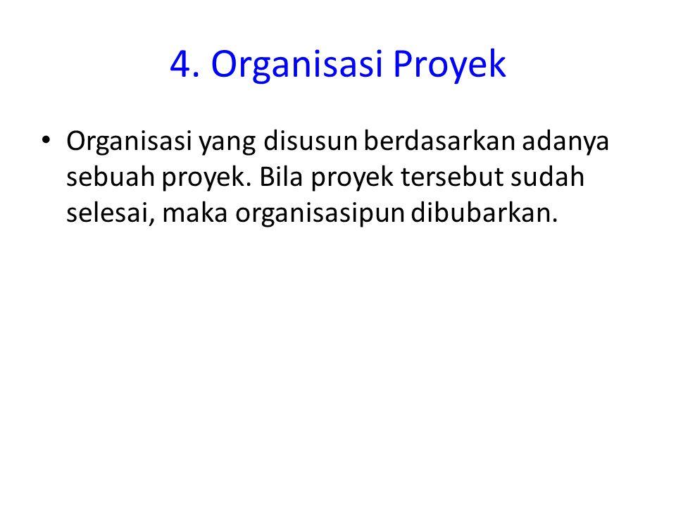 4. Organisasi Proyek Organisasi yang disusun berdasarkan adanya sebuah proyek.